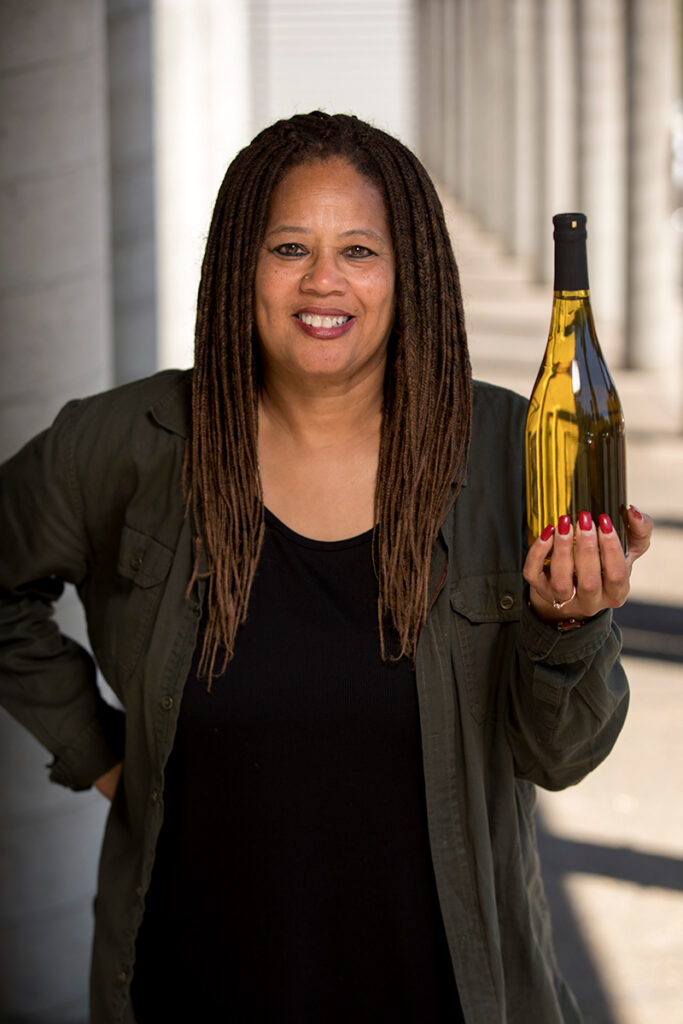 Donna Stoney, founder of Stoney Wines presented a bottle of white wine